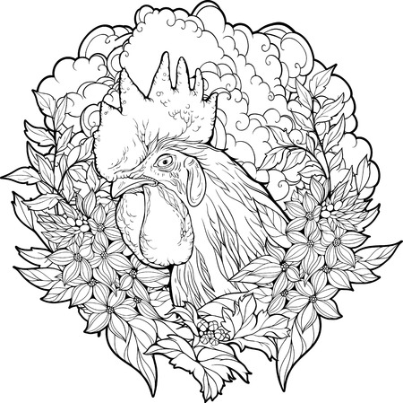 Coloring page with cock in a flowers.