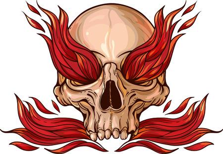頭蓋骨内の火災でのカラフルなイメージ。  イラスト・ベクター素材
