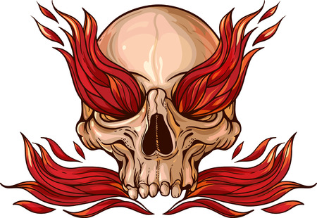 Colorful image of skull with fire inside. Фото со стока - 58784451