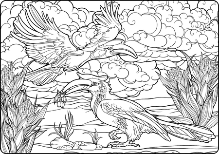 Coloring page with two hornbills and clouds.
