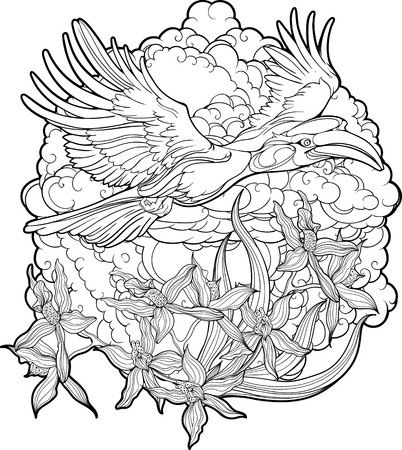 hornbill: Coloring page with flying hornbill, clouds and flowers.