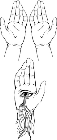 belive: Isolate images of hands palm with eye and flames of fire. Illustration