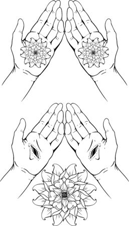 belive: Isolate images of hands palm with stigmatas and flowers.