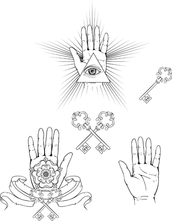 occult: Isolate images of hands palm, keys, flowers and occult triangle.