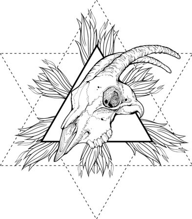 third eye: Illustration with goat skull, flames of fire, and occult star