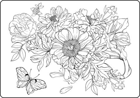 coloring sheets: Close-up view of bunch of flowers and a butterfly. Coloring page. Illustration