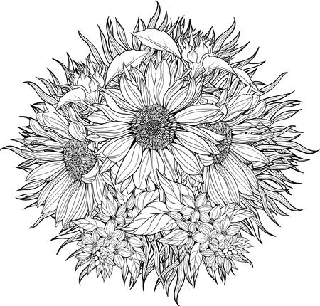 Vista de primer plano de ramo de girasoles. Dibujo para colorear.