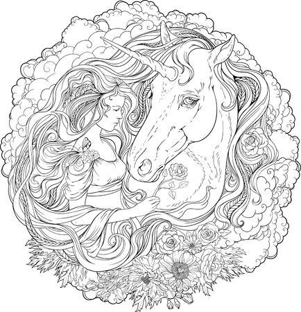 page long: Image of a unicorn and a girl in clouds. Coloring page. Illustration