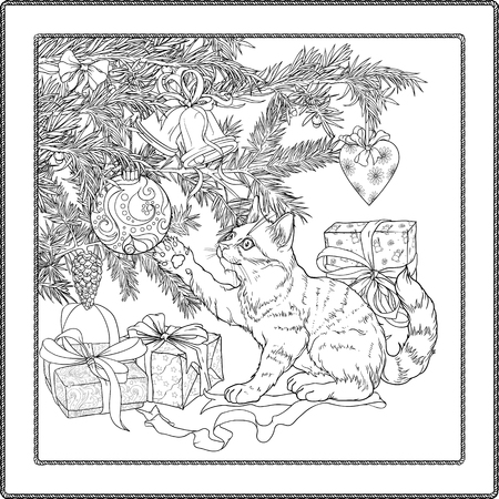 playful: Black and white illustration of christmas tree, presents and playful cat. Coloring page.