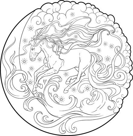 空を動いているファンタジー馬  イラスト・ベクター素材