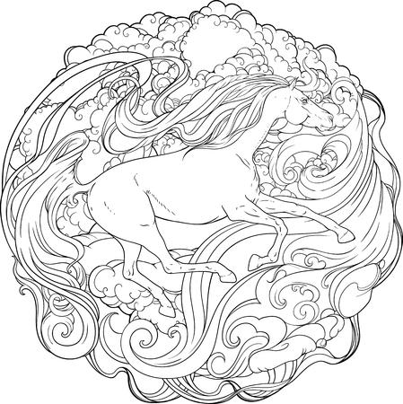 Fantasy horse running through the wind. Vectores