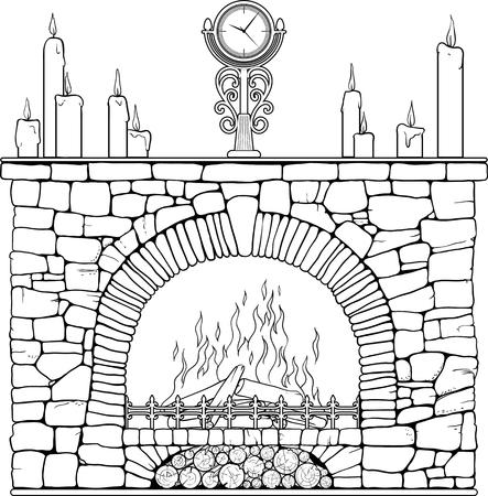 Cheminée en pierre avec horloge et candels. Coloriage.