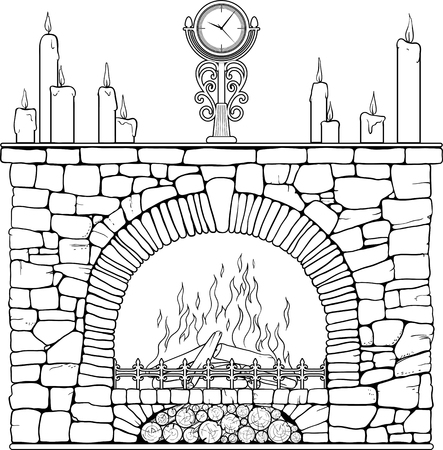 Stone fireplace with clock and candels. Coloring page.