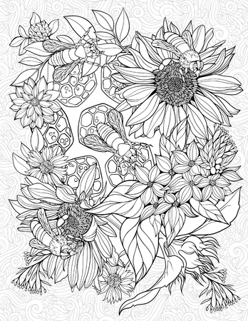 Coloring page with bees on flowers