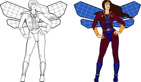 Two female superheroes with solar panels wings. Illustration