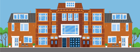 townhouses: townhouses. Flat style. Illustration
