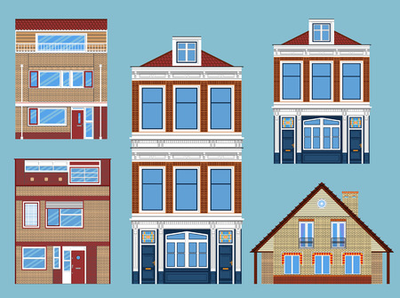 Set of various isolated townhouses. Illustration
