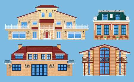 Set of various isolated villas.