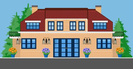 Image of two-storey villa with trees and flowers.