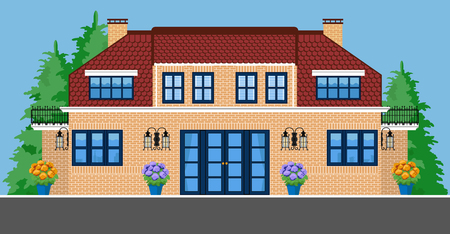 Image of two-storey villa with trees and flowers. Flat style.
