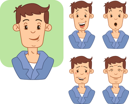icons with various facial expressions of a man. Иллюстрация