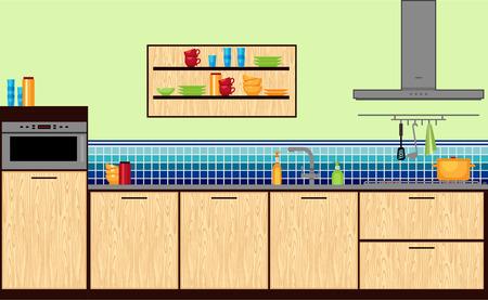 Modern kitchen in flat style.