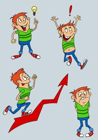 A cartoon character expressing various emotions.