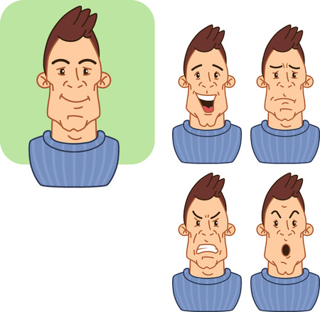 icons with various facial expressions of a man 2.