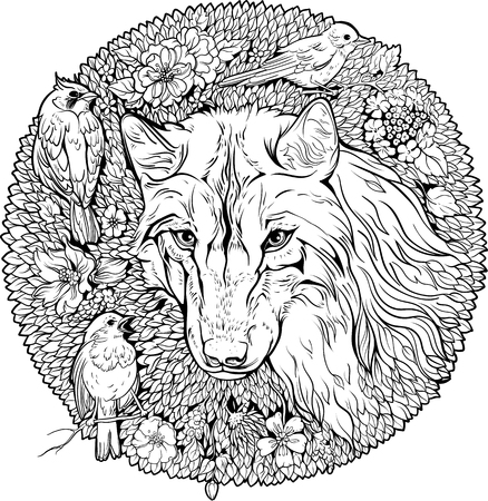 Florist coloring page wolf and birds design