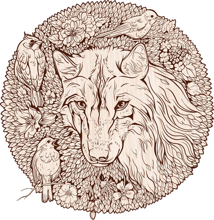 Florist image of wolf and birds.