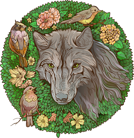 Colorful florist image of wolf and birds