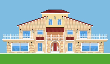 Image of tree-storey villa. Flat style. Иллюстрация