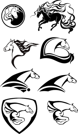 Black and white horse logos. Иллюстрация