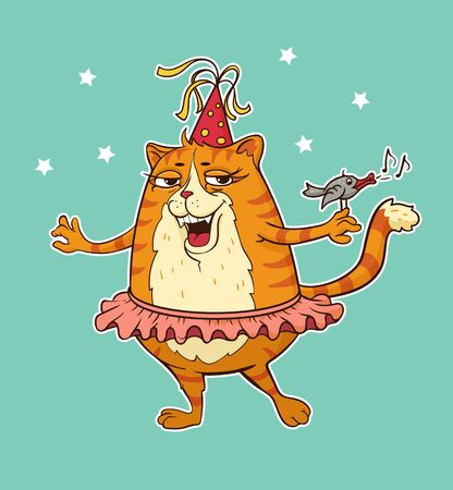 Cartoon cat dressed up for a party vector illustration 일러스트
