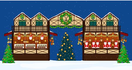 christmas fair trading stall. Flat style. Иллюстрация