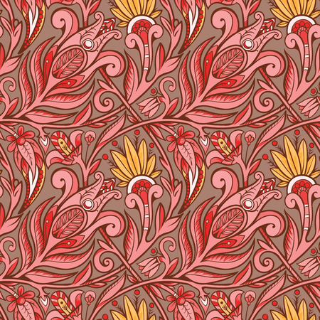 Seamless floral pattern. Red on rose