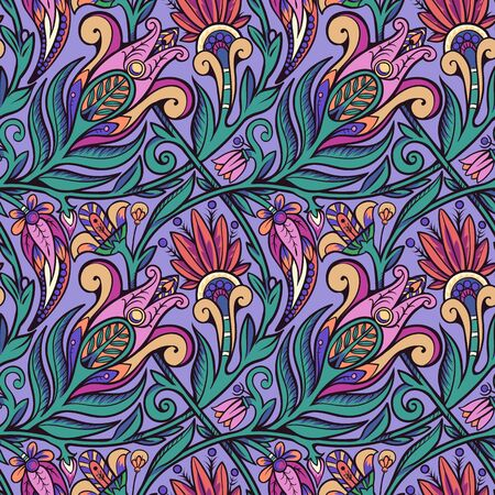 Seamless floral pattern. Green on violet