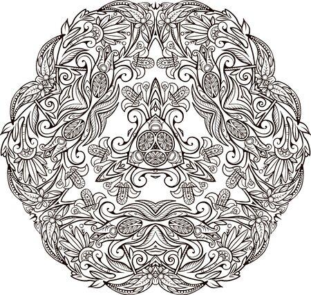Floral decorative element mandala. Иллюстрация