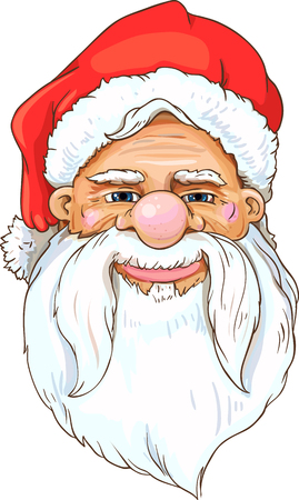 Portrait of Santa Clause with long mustache. Cartoon style