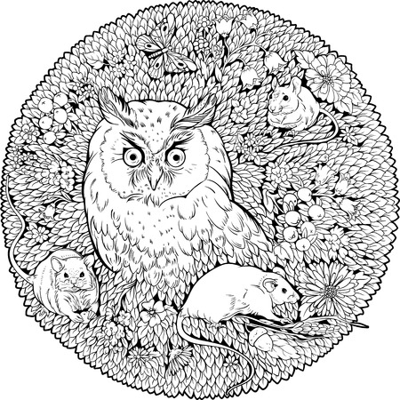 Floristic coloring page with owl and mice