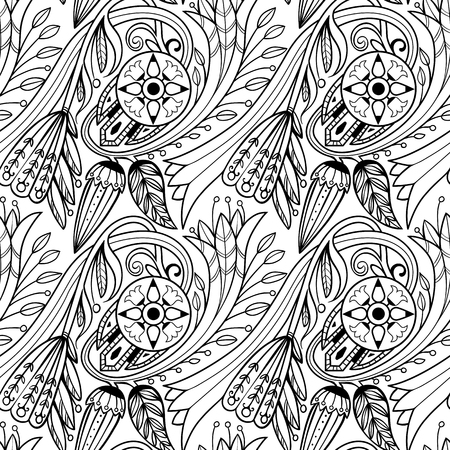 Floral pattern. Black and white.
