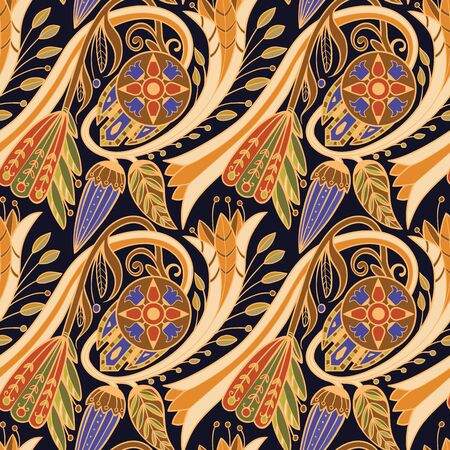 Floral pattern. Yellow and blue on black background.