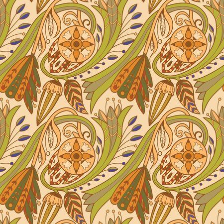 floral pattern. Green and orange on rose background.