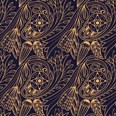 Floral pattern. Yellow on black background.