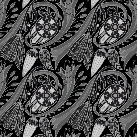 Floral pattern background. Black and white inversed.  イラスト・ベクター素材
