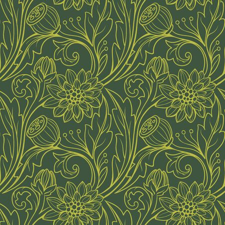 Floral pattern. Yellow on green background.  イラスト・ベクター素材