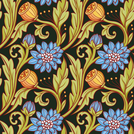 Floral pattern. Blue, green and black background.