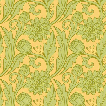 Floral pattern. Green on orange background.