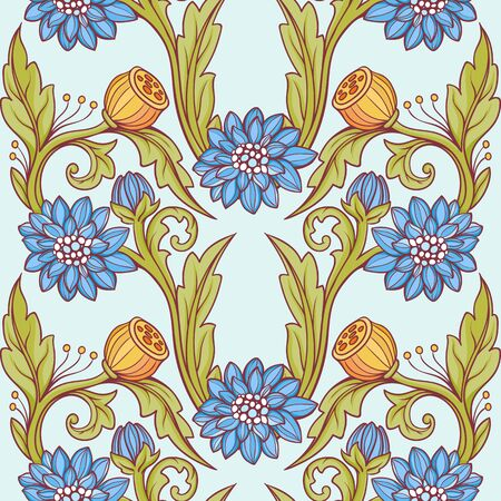 Floral pattern. Blue and green on blue background.