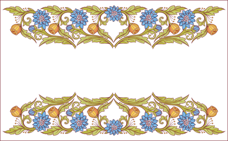 Floral decorative elements with blue flowers.